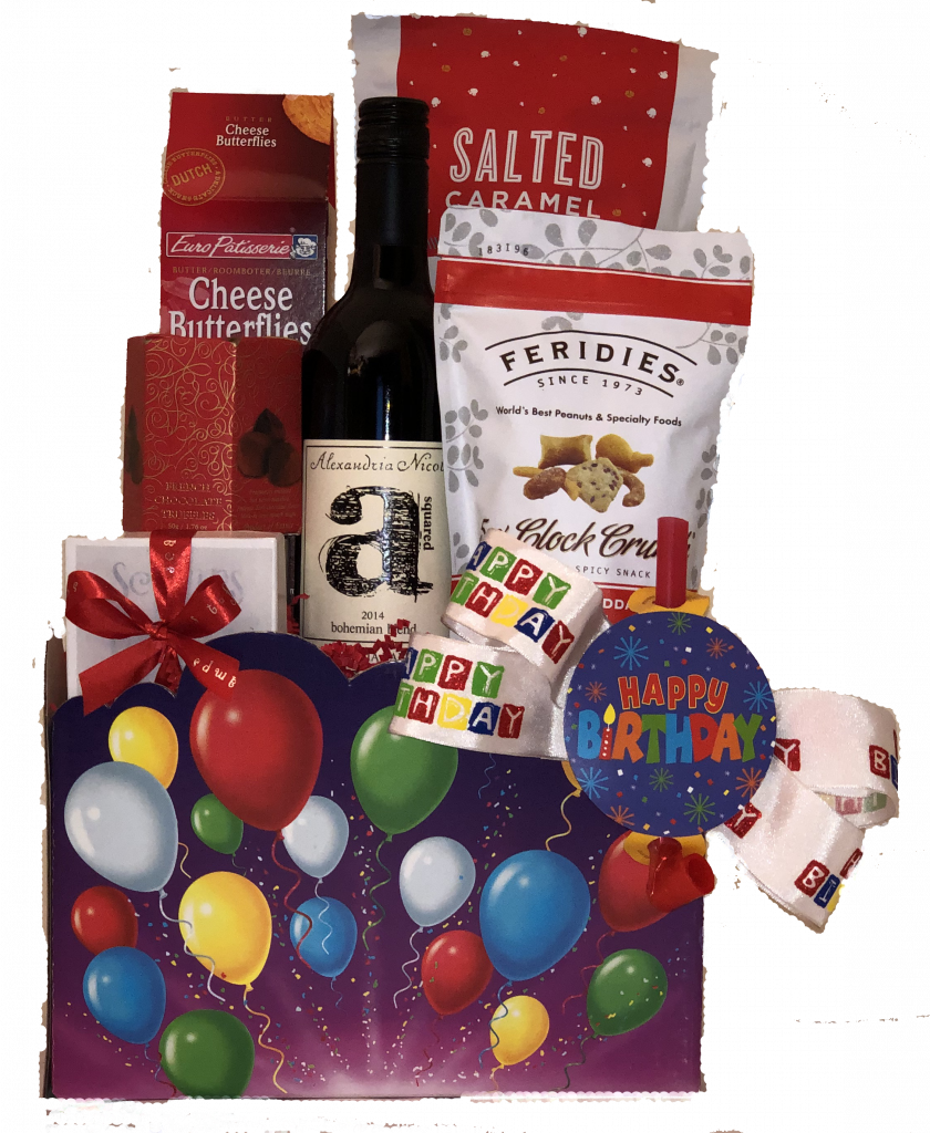 Home Gift Baskets With Wine Happy Birthday